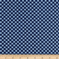 Roly-Poly Snowmen Checkerboard Navy Blue