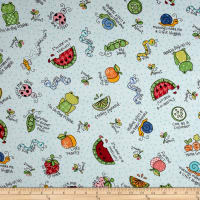 Maywood Studio Kimberbell Lil' Sprout Flannel Too! Lil' Sprout Toss Teal