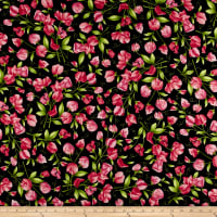 Maywood Studio Sweet Pea Flannel Sweet Pea Floral Black