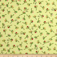 Maywood Studio Kimberbell Lil' Sprout Flannel Too! Sprouts N' Hearts Tossed Green