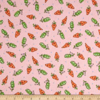 Maywood Studio Kimberbell Lil' Sprout Flannel Too! Peas N' Carrots Pink