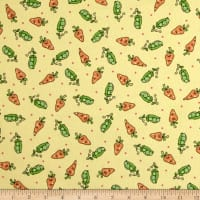 Maywood Studio Kimberbell Lil' Sprout Flannel Too! Peas N' Carrots Yellow