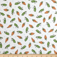 Maywood Studio Kimberbell Lil' Sprout Flannel Too! Peas N' Carrots White