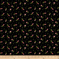 Maywood Studio Sweet Pea Flannel Sweet Pea Buds Black