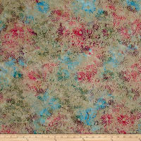 Sarah J Must Have Batiks Flowers Khaki