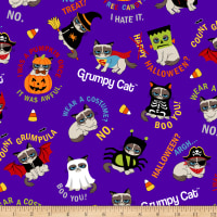 Marcus Grumpy Cat Halloween Allover Purple