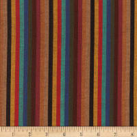 Yarn Dyed Shirting Thin Stripe Brown/Teal/Rust