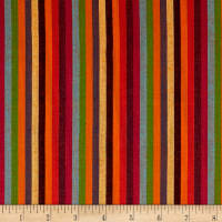Yarn Dyed Shirting Thin Stripe Bright Orange/Multi