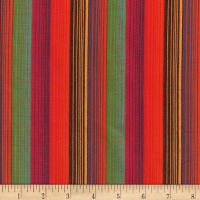 Yarn Dyed Shirting Wide Stripe Bright Orange Multi