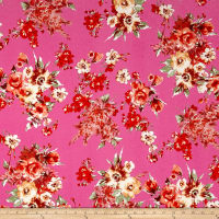 Liverpool Knit English Floral Bouquet Orange on Bubblegum Pink