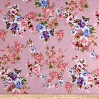 Liverpool Knit English Floral Bouquet Blue/Pink on Lilac