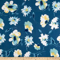 Liverpool Knit Floral Yellow on Blue