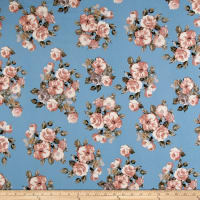Liverpool Knit English Roses Mauve on Blue