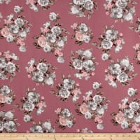 Liverpool Knit English Roses Gray on Mauve