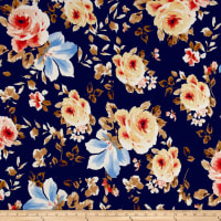 Liverpool Knit Floral Light Blue on Black