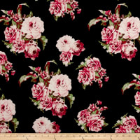 Liverpool Knit Floral Pink on Black