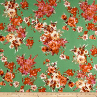 Liverpool Knit Floral Bouquet Coral on Green