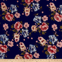 Liverpool Knit English Roses Mauve/Blue on Navy