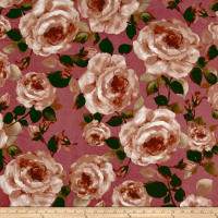 Liverpool Knit Roses Taupe on Dark Mauve