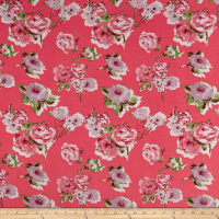 Liverpool Knit Roses Lilac on Bright Coral