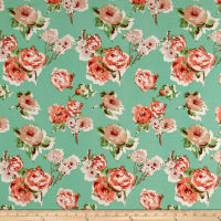 Liverpool Knit Roses Taupe on Green