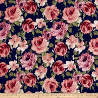 Liverpool Knit Floral Garden Mauve/Magenta on Navy