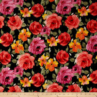 Liverpool Knit Floral Garden Coral/Yellow on Black