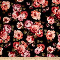Liverpool Knit English Floral Coral on Black