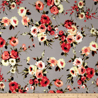 Liverpool Knit English Floral Dark Coral on Gray