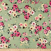 Liverpool Knit English Floral Fuschia on Sage