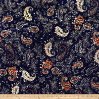 Stretch Velvet Print Paisley Navy/Rust