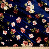 Stretch Velvet Print English Roses Dark Brown on Navy