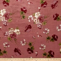 Stretch Velvet Print English Roses Wine on Mauve