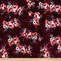 Stretch Velvet Print English Roses Mauve/Blue on Burgundy