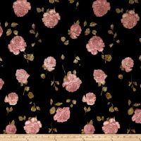 Stretch Velvet Print Roses Blush/Black