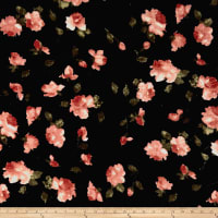 Stretch Velvet Print Roses Mauve on Black