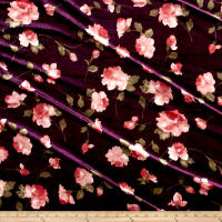 Stretch Velvet Print Roses Mauve on Plum