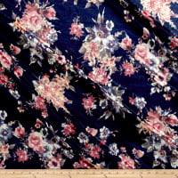 Stretch Velvet Print Floral Mauve on Navy