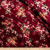 Stretch Velvet Print Floral Orange on Burgundy