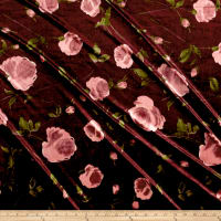 Stretch Velvet Print Roses Mauve on Burgundy