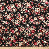 Stretch Velvet Print Floral Pink/Rust on Black
