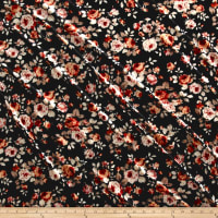 Stretch Velvet Print Floral Orange/Rust on Black