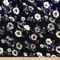 Stretch Velvet Print Floral Light Blue/Mauve on Navy