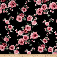 Rayon Spandex Jersey Knit Roses Mauve on Black