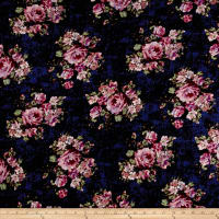 Rayon Spandex Jersey Knit Distressed Roses Mauve on Navy