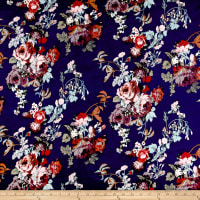 Rayon Spandex Jersey Knit Rose Bouquet Multi on Navy