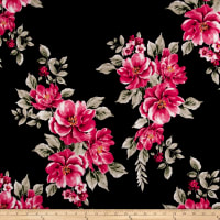 Rayon Spandex Jersey Knit Floral Red on Black