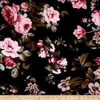 Rayon Spandex Jersey Knit English Floral Rose on Black