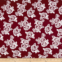 Rayon Spandex Jersey Knit Roses White on Burgundy
