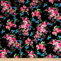 Rayon Spandex Jersey Knit Floral Garden Fuschia on Black